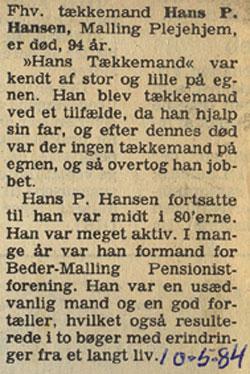 Original dødsannonce af 10. maj 1984