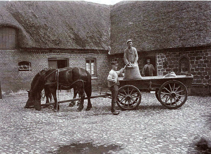 I gården på Fløjstrup Vestergård ca. 1910.1 døren, Søren Poulsen, Anton Pedersen pa stenbroen, mens manden i vognen er ukendt.