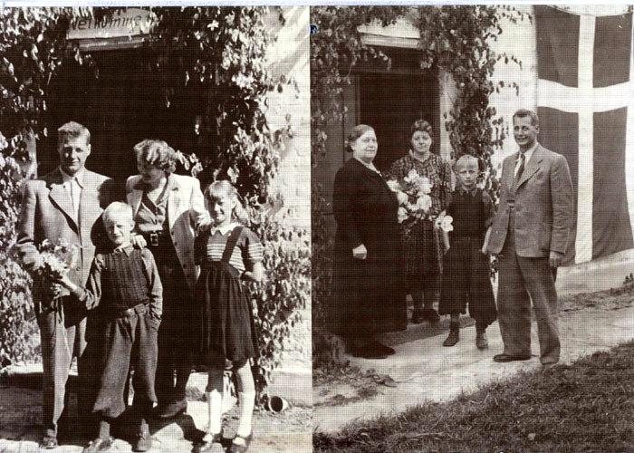 """Bill. til v.: Beboerne i Beder havde pyntet huset på Beder Landevej, da Victor Glysing Jensen d. 10. maj 1945 kom hjem efter 10 måneders ophold i koncentrationslejr i Tyskland. Her ses han ved hjemkomsten sammen med sin kone Anna og børnene Jens og Elisabeth (også kaldet """"Mulle""""). Bill. til h.: Victor Glysing Jensen fik besøg af sin mor Marie Jensen og søsteren Dagmar fra Malling Kro."""