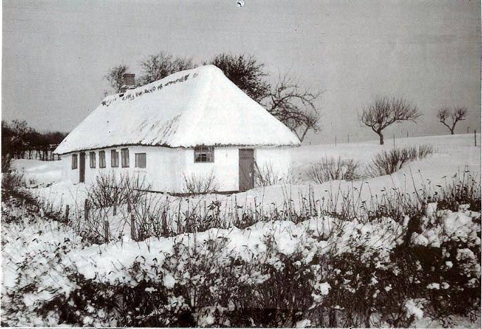 Elmosevej 71, Neder Fløjstrup. . Et flot vinterbillede med et smukt, gammelt stråtækt hus. Hvor gammelt huset er, ved vi ikke på arkivet, men på et gammelt kort fra 1817 er der vist et hus på grunden. Billedet er fra 1986.