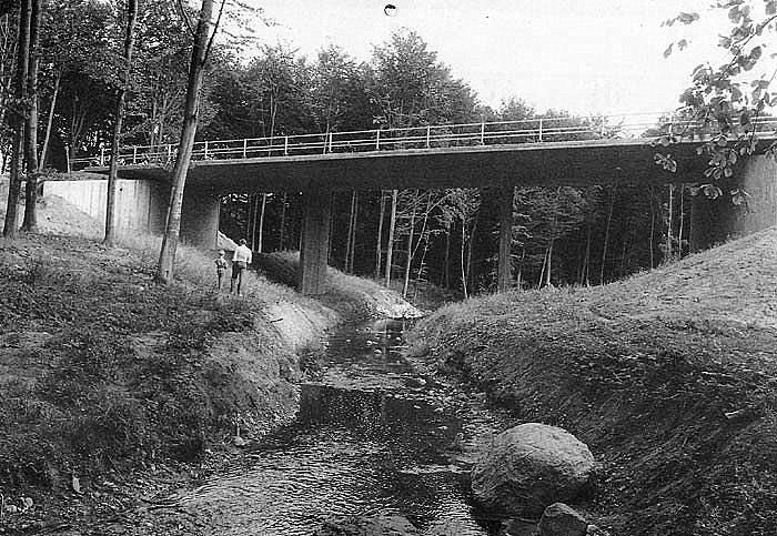 """Omfartsvejen blev indviet d. 15. nov. 1989 og har altså nu eksisteret i 10 år. 'Her er det broen over Giberåen. Allerede i 1950' erne talte man om den kommende omfartsvej. men det tog altså mere end 40 år, før den kom. De, der bor ved """"den gamle landevej"""", synes i dag, at trafikken er stor. men tænk, hvis omfartsvejen ikke var bygget."""