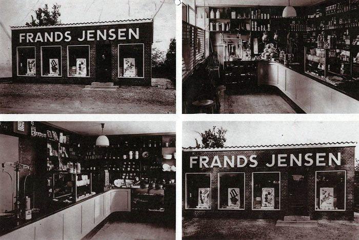 Beder Landevej 52. Huset blev bygget af købmand Jens Jensen under krigen. Forretningen blev senere overtaget af Harlev Sørensen. Da han flyttede på butikstorvet blev huset privatbolig.