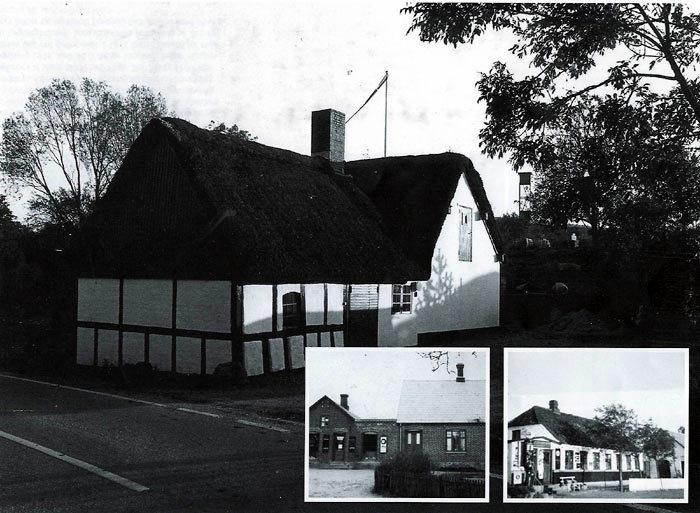 Billede 1. Norsmindevej 24, Ajstrup. Huset er bygget i 1807. Omkring 1880 bliver bønderne enige med den ejeren om at starte et udsalg. Handel foregår gennem en lem i muren. I nr. 25 bygges i 1914 et husmandssted og ca. 1920 indrettes en butik. Billede 2. Lillenor Købmandsforretning, Norsmindevej 65 ca. 1935. Her har været høkerbutik i over 100 år. Først i 1920'erne indrettes nuv. bygning til købmandshandel. Den nedlægges først i 1970'erne. Billede 3. Fløjstrup Købmandsmandel, Elmosevej 33 ca. 1940. Ejer er købmand Anker Rasmus Nielsen. Fra 1945 er Fløjstrup telefoncentral også i huset. Udhuset til højre rummer Andeg Frysehuset. Datteren Grethe Villadsen og hendes mand overtager huset i 1968. Købmandshandelen ophører ca. 1972.