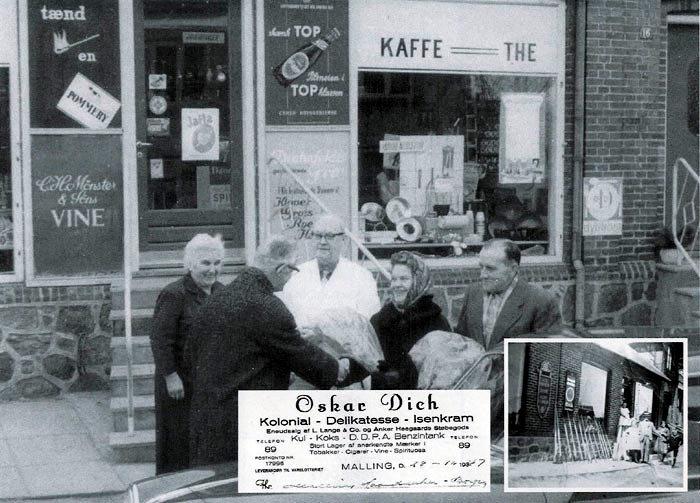 Billede 1: Oscar og Mette Dich udenfor forretningen med vinderne af kaffelotteriets gevinst Aksel og Helga Kristiansen. Foto 1964. Billede 2: Faktura fra Oscar Dich 1947. Billede 3: Købmand Laurs Graugaard Jensen med familien udenfor forretningen 1920.