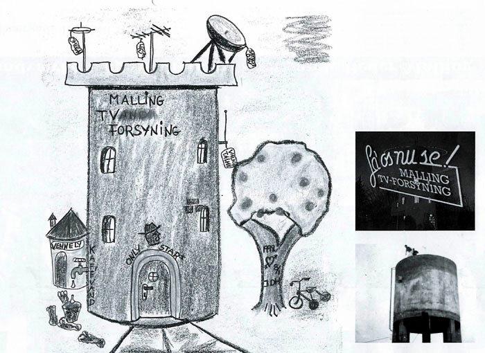 Billede 1  Tegning af MALLING TVand FORSYNING 1992. Hvem har tegnet den? Billede 2 Vandtårnet med Jacobs Haugaards Lysreklame 1992. Billede 3 Vandtårnet på Rønhøjvej 6 i 1960. Den grå kolos er åben forneden og bærer på otte ben en armeret beton-tank.
