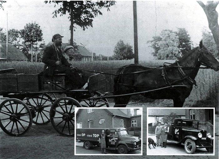 Billede 1: T. H. og Hans Schou bringer varer ud i Beder. Vi er på Beder Landevej. Bagerst til venstre ses det ældste Kristiansgård, der nu er nedrevet. Plejeboligerne Kristiansgården har navn efter den. Næste bygning er Beder Gammel Skole, Kristiangårdsvej 3-6. Foto 1918.  Billede 2: Hans Schou foran sin Bedford lastbil fra 1962. Foto 1962. Billede 3: T. H. Schous lastbil var en Chevrolet fra 1929. Her ses han til højre sammen med nevøen Niels Schou. Foto 1939.