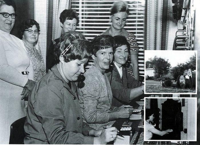 Billede 1 I 1970 ophører Beder telefoncentral på Bredgade 67. Fra venstre Oda Jacobsen, Erna Michaelsen og Inger Andersen. Billede 2 Den nye Central i 1970 - en boks på vejen. Billede 3 Omstillingen i Fløjstrup Tove Pedersen