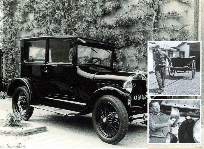 Billede 1: Elvin købte pastor Michael Grells Ford T fra 1927. Foto 1988. Billede 2: Elvin samlede på gamle biler og jumber. Han holdt dog ikke hest, så jumberne kunne komme ud at køre. Det var køretøjerne, der havde hans interesse, og han havde drømme om at oprette et privat køretøjsmuseum i Malling. Billede 3: Kærlighed til gamle biler, der pudses og passes.