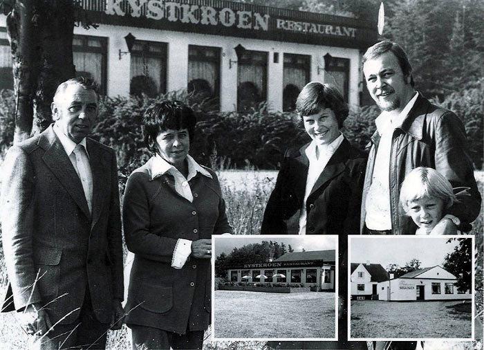Billede 1 Kystkroen 1976. Ejerne Gunhild og Carl Christensen byder forpagter Aase og Svend Schou og datteren Tina velkommen. Billede 2 Kystkroen ca. 1980. Billede 3 Solvigen ca. 1955.
