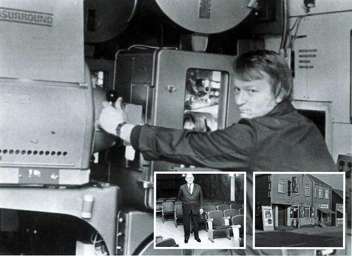 Billede 1. Per Hauberg køber Tre Falke Bio i København, og er her foran filmfremviseren i 1978. I 1981 går det skrækkelig galt. Der er avisstrejke i flere måneder, folk kommer ikke i biografen, og både Tre falke og Risskov Bio må afleveres. Derudover koster indretningen af Bette Bio dobbelt så meget som budgetteret. Malling Bio reddes i sidste øjeblik ved at blive omlagt til Anpartsselskab. Billede 2. Biografejer Niels PeterJacobsen, da salen er ved at blive renoveret i 1968. Niels Peter ejer også Solbjerg Kro.  Billede 3. Malling Bios facade i 19 16, Bredgade 49. Skomager Hansen har også forret ng i bygningen. Disse lokaler bliver nogle år senere til Bette Bio. Til højre ses slagter Chr. Blixens forretning.