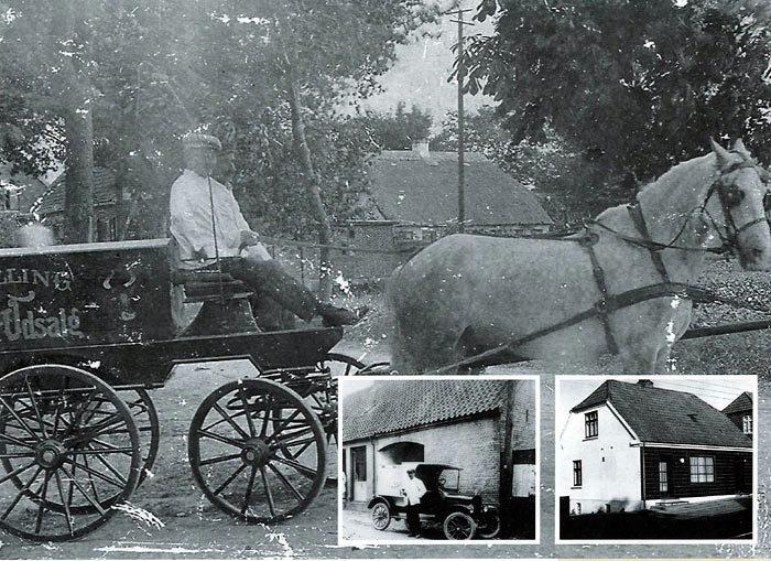 Billede 1. Slagter Rasmus Eskesen på vej til torvet i Aarhus i sin hestevogn med kød fra »Malling Kød Udsalg«. Foto 1910. Billede 2. Inger og Niels Johannsen ca. 1920-1925 på Ajstrupvej. Inger står foran butikken. Porten fører ind til Malling Kro. Varevognen er en Ford T med det karakteristiske flade tag. Bemærk også de åbne vognskærme, rattet sidder i højre side, og at vognlygterne ikke er integreret i bilen. Billede 3. I 1980 kan man stadig  at der har været Slagteriudsalg på Bredgade 80