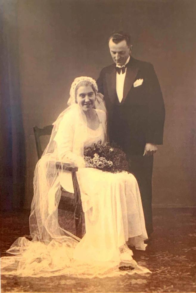 Brudeparret Ellen Johanne Elmose og Ejnar Pedersen